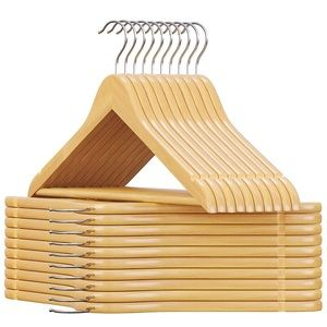 20 Pack Natural Wooden Coat Hangers, Smooth Solid
